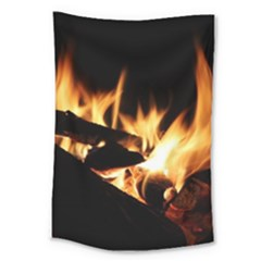 Bonfire Wood Night Hot Flame Heat Large Tapestry by Amaryn4rt