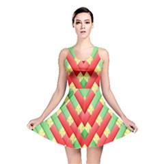 Christmas Geometric 3d Design Reversible Skater Dress