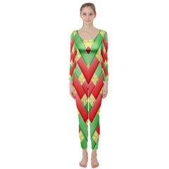 Christmas Geometric 3d Design Long Sleeve Catsuit by Amaryn4rt