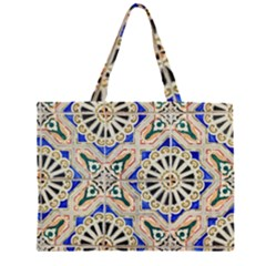 Ceramic Portugal Tiles Wall Zipper Large Tote Bag by Amaryn4rt
