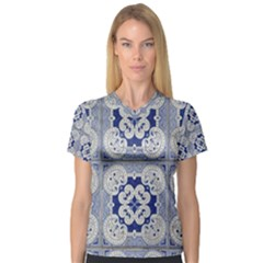 Ceramic Portugal Tiles Wall Women s V Neck Sport Mesh Tee