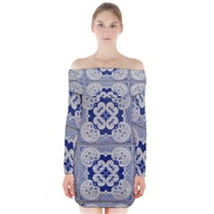 Ceramic Portugal Tiles Wall Long Sleeve Off Shoulder Dress