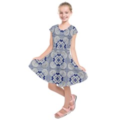 Ceramic Portugal Tiles Wall Kids  Short Sleeve Dress by Amaryn4rt