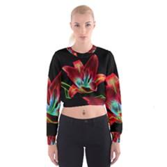 Flower Pattern Design Abstract Background Women s Cropped Sweatshirt