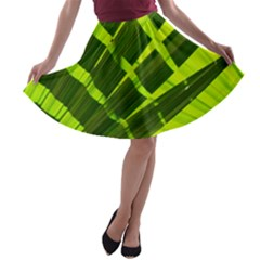 Frond Leaves Tropical Nature Plant A Line Skater Skirt by Amaryn4rt