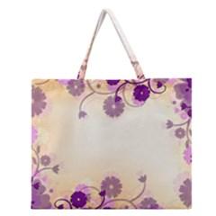 Floral Background Zipper Large Tote Bag