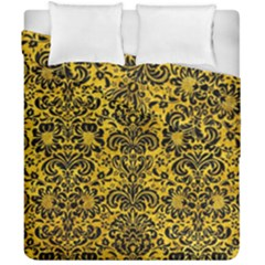 Damask2 Black Marble & Yellow Marble (r) Duvet Cover Double Side (california King Size) by trendistuff