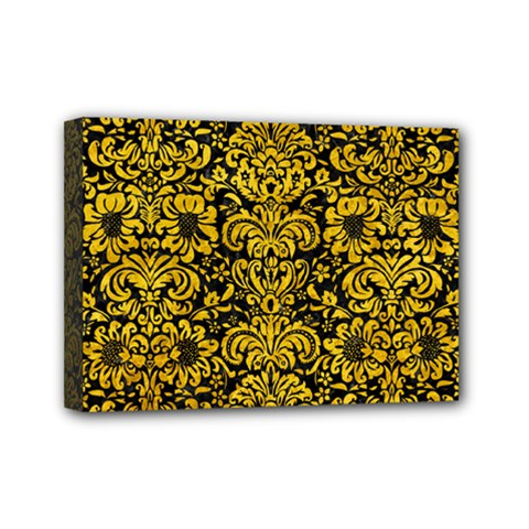 Damask2 Black Marble & Yellow Marble Mini Canvas 7  X 5  (stretched) by trendistuff