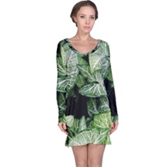 Green Leaves Nature Pattern Plant Long Sleeve Nightdress
