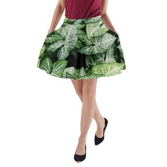 Green Leaves Nature Pattern Plant A Line Pocket Skirt by Amaryn4rt