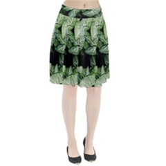 Green Leaves Nature Pattern Plant Pleated Skirt by Amaryn4rt