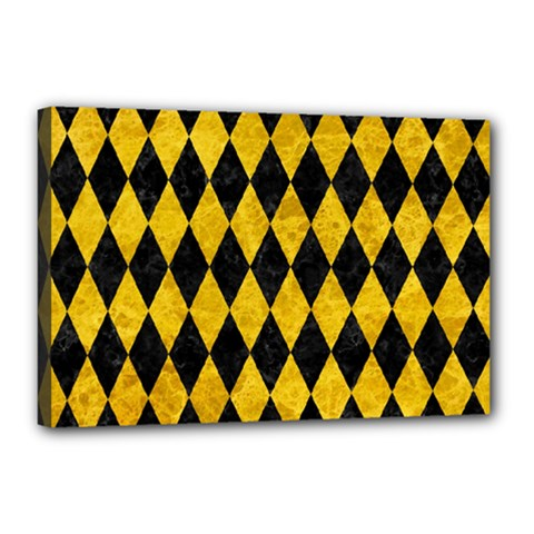 Diamond1 Black Marble & Yellow Marble Canvas 18  X 12  (stretched) by trendistuff