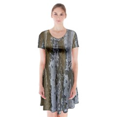 Grunge Rust Old Wall Metal Texture Short Sleeve V Neck Flare Dress by Amaryn4rt