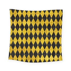Diamond1 Black Marble & Yellow Marble Square Tapestry (small) by trendistuff