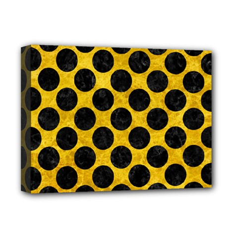 Circles2 Black Marble & Yellow Marble (r) Deluxe Canvas 16  X 12  (stretched)  by trendistuff