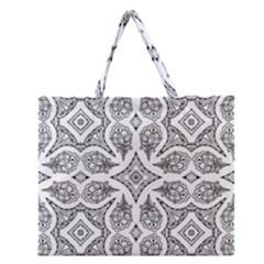 Mandala Line Art Black And White Zipper Large Tote Bag by Amaryn4rt