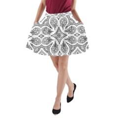 Mandala Line Art Black And White A Line Pocket Skirt