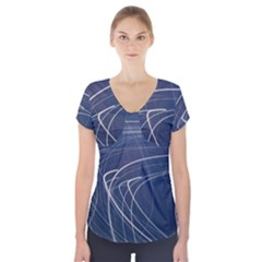 Light Movement Pattern Abstract Short Sleeve Front Detail Top by Amaryn4rt