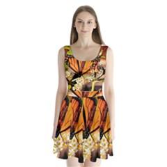 Monarch Butterfly Nature Orange Split Back Mini Dress