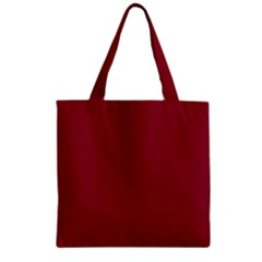 Deep Red Zipper Grocery Tote Bag by Valentinaart
