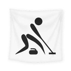 Curling Pictogram  Square Tapestry (small) by abbeyz71