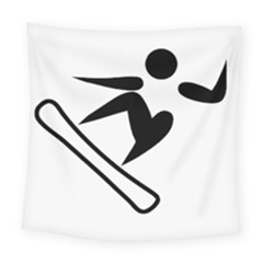 Snowboarding Pictogram  Square Tapestry (large) by abbeyz71