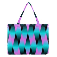 Shiny Decorative Geometric Aqua Medium Tote Bag by Amaryn4rt