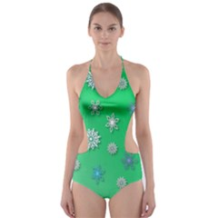 Snowflakes Winter Christmas Overlay Cut Out One Piece Swimsuit