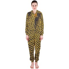 Sunflower Bright Close Up Color Disk Florets Hooded Jumpsuit (ladies)