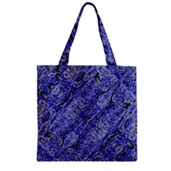 Texture Blue Neon Brick Diagonal Zipper Grocery Tote Bag by Amaryn4rt