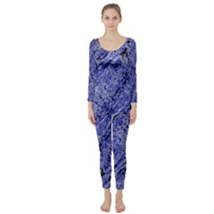 Texture Blue Neon Brick Diagonal Long Sleeve Catsuit by Amaryn4rt