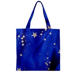 The Substance Blue Fabric Stars Zipper Grocery Tote Bag by Amaryn4rt