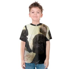 Sharpei Pups Black And Creme Kids  Cotton Tee by TailWags