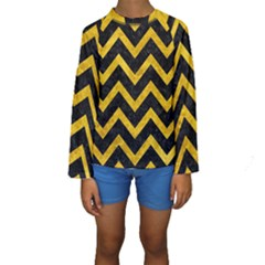 Chevron9 Black Marble & Yellow Marble Kids  Long Sleeve Swimwear by trendistuff
