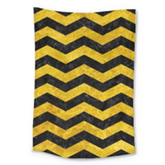 Chevron3 Black Marble & Yellow Marble Large Tapestry by trendistuff