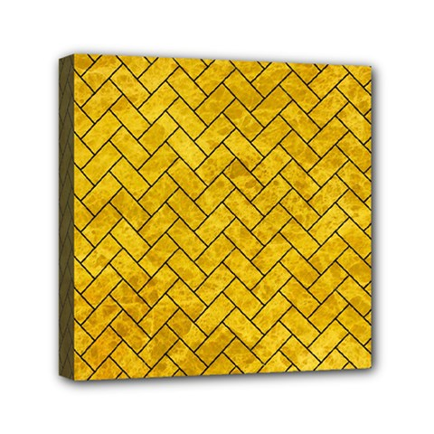 Brick2 Black Marble & Yellow Marble (r) Mini Canvas 6  X 6  (stretched) by trendistuff