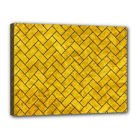 Brick2 Black Marble & Yellow Marble (r) Canvas 16  X 12  (stretched) by trendistuff