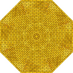 Brick1 Black Marble & Yellow Marble (r) Folding Umbrella by trendistuff