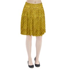 Brick1 Black Marble & Yellow Marble (r) Pleated Skirt by trendistuff