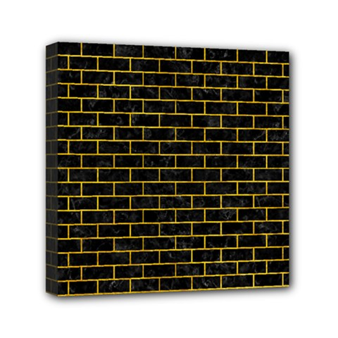 Brick1 Black Marble & Yellow Marble Mini Canvas 6  X 6  (stretched) by trendistuff