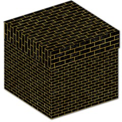Brick1 Black Marble & Yellow Marble Storage Stool 12  by trendistuff