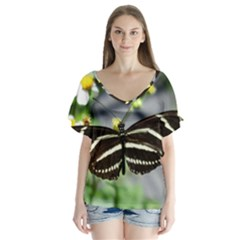Butterfly #22 Flutter Sleeve Top by litimages