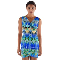 Blue Multicolor Abstract Geometric Design Wrap Front Bodycon Dress by GabriellaDavid