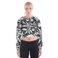 Decoration Pattern Design Flower Women s Cropped Sweatshirt by Amaryn4rt
