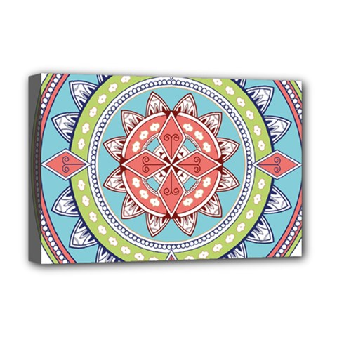 Drawing Mandala Art Deluxe Canvas 18  X 12   by Amaryn4rt