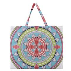 Drawing Mandala Art Zipper Large Tote Bag by Amaryn4rt