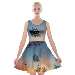 Hardest Frost Winter Cold Frozen Velvet Skater Dress by Amaryn4rt