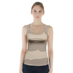 Pattern Wave Beige Brown Racer Back Sports Top