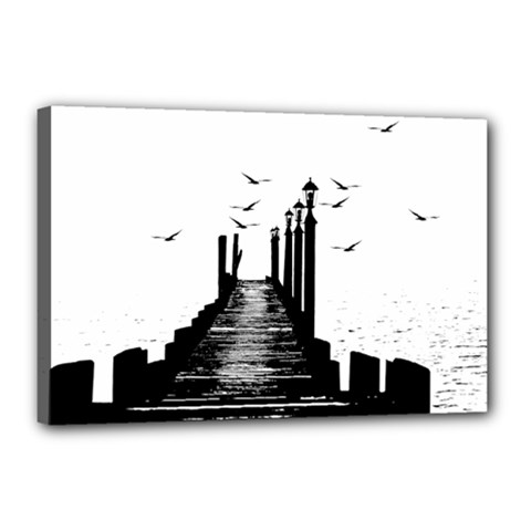 The Pier The Seagulls Sea Graphics Canvas 18  X 12  by Amaryn4rt