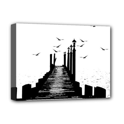 The Pier The Seagulls Sea Graphics Deluxe Canvas 16  X 12   by Amaryn4rt